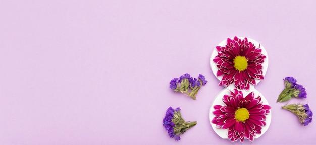 Vista superior lindas flores con espacio de copia