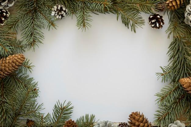 Vista superior lindo espacio de copia en blanco de agujas de pino de invierno