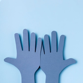 Vista superior manos del día mundial del corazón