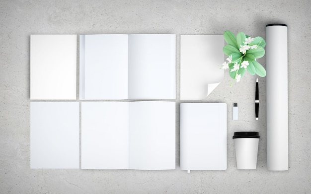 Vista superior de la maqueta de elementos en blanco