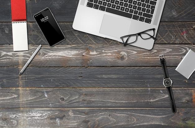 Vista superior de la maqueta de escritorio de oficina de madera