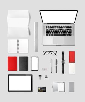 Vista superior de la maqueta de marca de escritorio de oficina aislada en gris