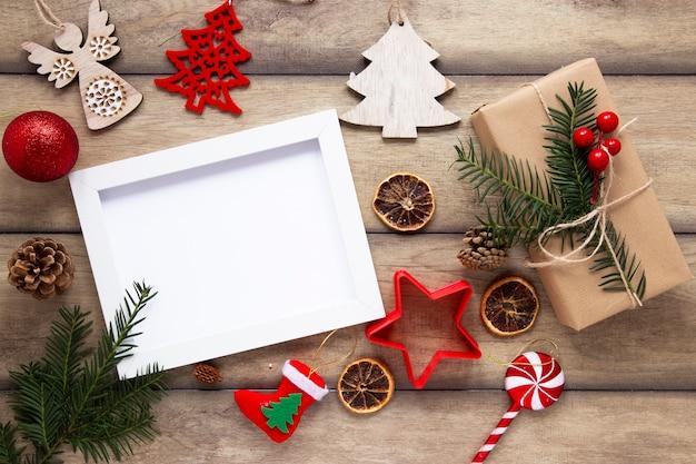 Vista superior de maqueta de marco de navidad