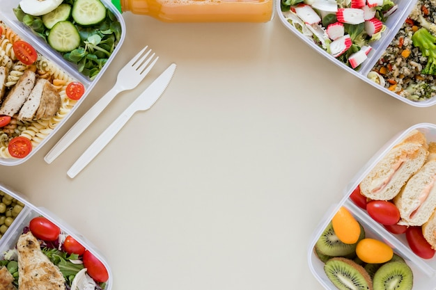 Vista superior del marco de alimentos nutritivos