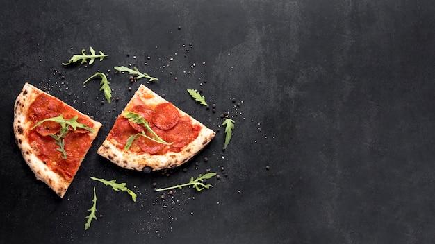 Vista superior del marco de comida italiana