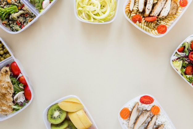 Vista superior marco comida nutritiva