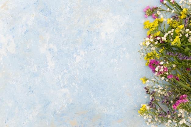 Vista superior del marco floral con fondo de estuco
