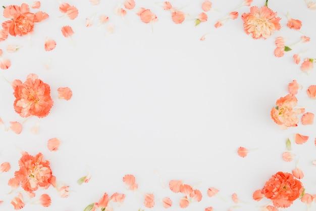 Vista superior marco de flores con copy space