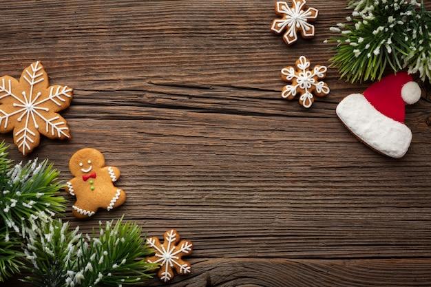 Vista superior del marco de navidad con espacio de copia
