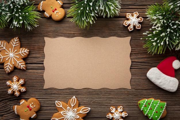 Vista superior del marco de navidad con maqueta
