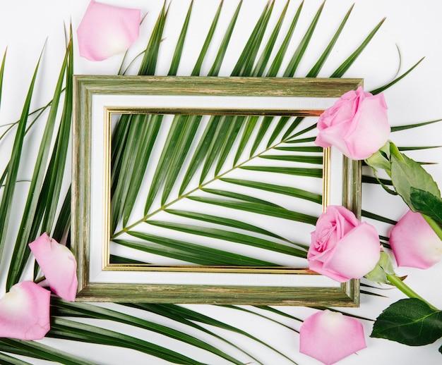 Vista superior de un marco vacío con rosas de color rosa en una hoja de palma sobre fondo blanco.