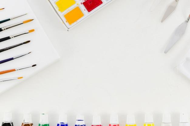 Vista superior material de pintura
