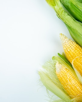 Vista superior de mazorcas de maíz en el lado derecho y superficie blanca