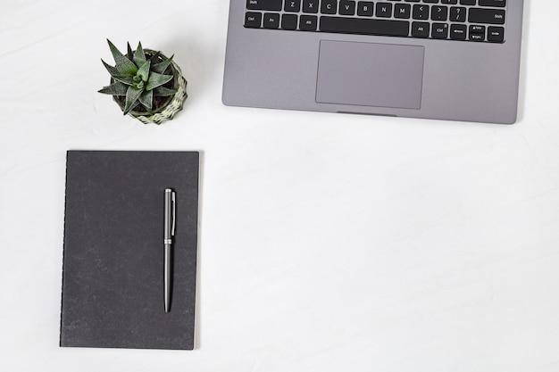 Vista superior de la mesa de trabajo blanca con laptop, lácteos, pluma y planta suculenta