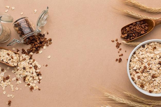 Vista superior mezcla de cereales