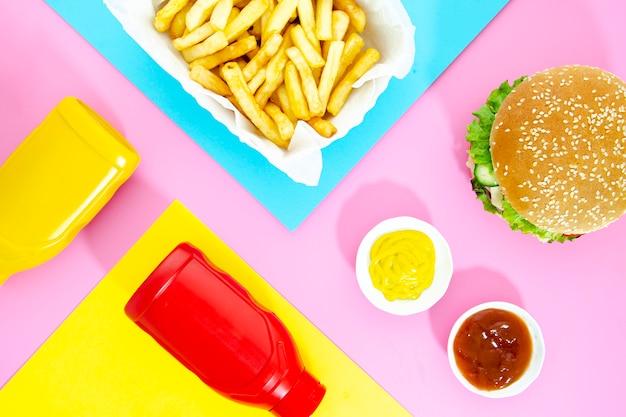 Vista superior mezcla de comida rápida