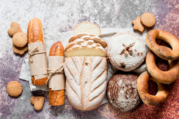Vista superior mezcla de panes