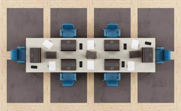 Vista superior de una moderna sala de juntas con mesa de reuniones