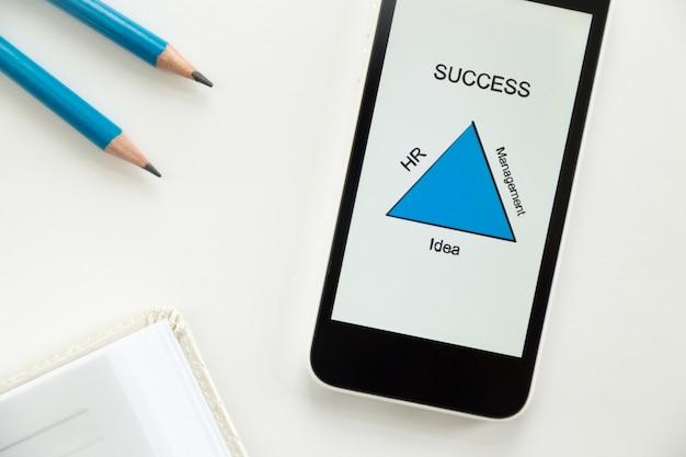Vista superior de un móvil sobre un escritorio, diagrama de éxito
