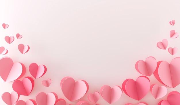 Vista superior de muchos corazones rosados