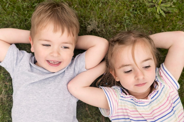 Vista superior niños en pasto