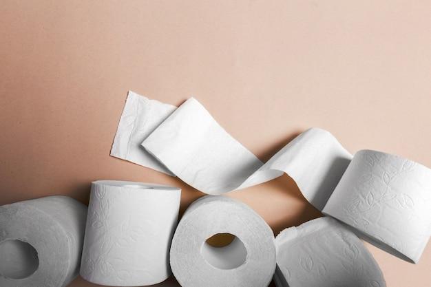 Vista superior de papel higiénico
