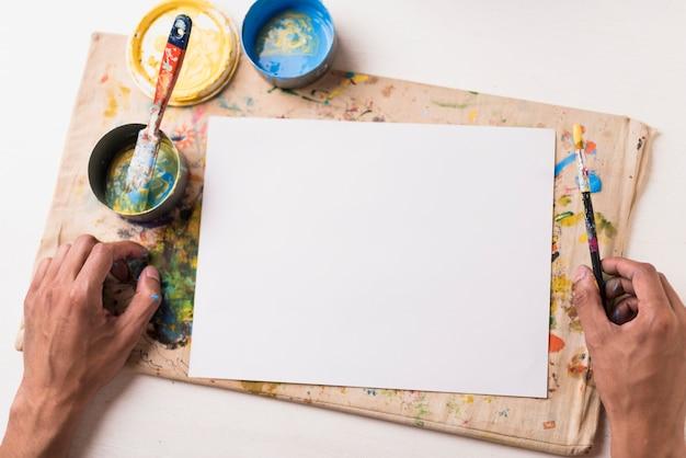 Vista superior papel vacío