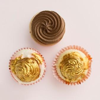 Vista superior de pasteles para fiesta