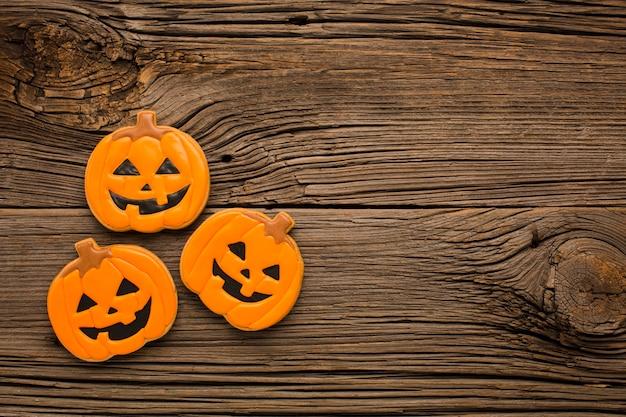 Vista superior de pegatinas de calabaza de halloween