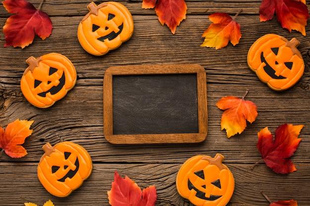 Vista superior pegatinas de fiesta de halloween con maqueta