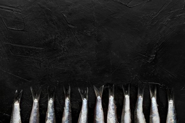 Vista superior de pequeñas colas de pescado con espacio de copia