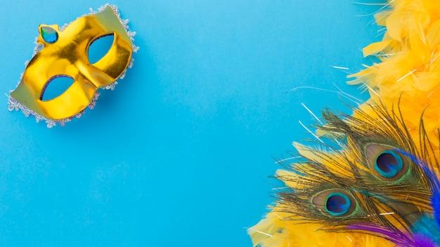 Vista superior de plumas de pavo real con máscara