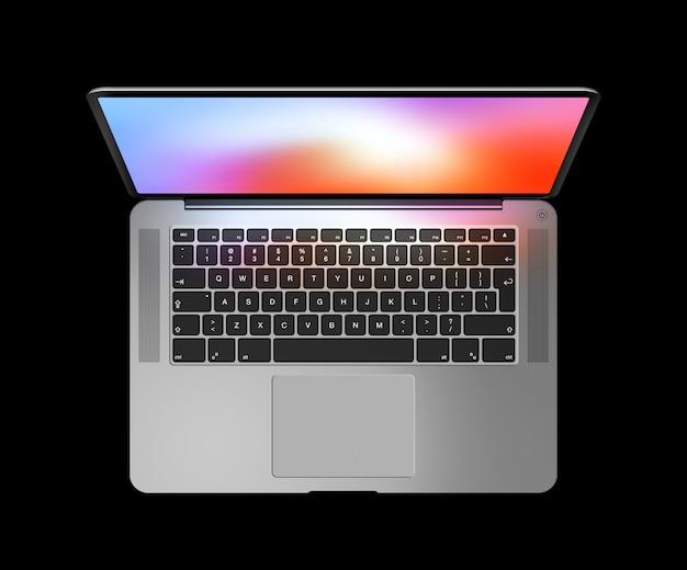Vista superior del portátil abierto con pantalla colorida aislada en negro.