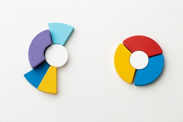 Vista superior de la presentación de estadísticas con gráfico circular