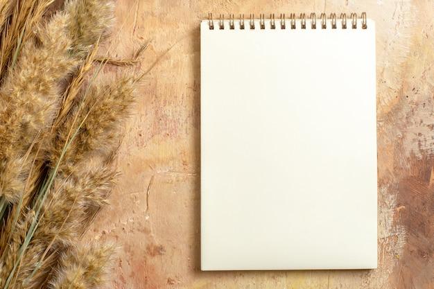 Vista superior de primer plano portátil cuaderno blanco junto a las espiguillas en la mesa