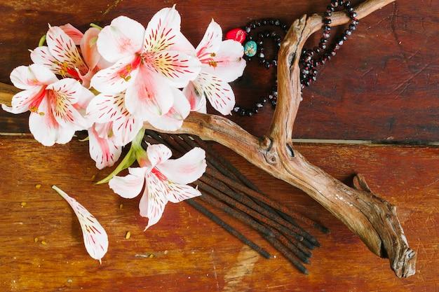 Vista superior rama con flores