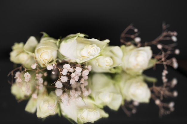 Vista superior ramo de flores