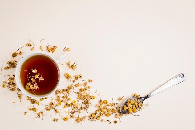 Vista superior de refrescantes hierbas de té