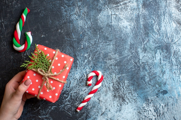 Vista superior, regalo de navidad