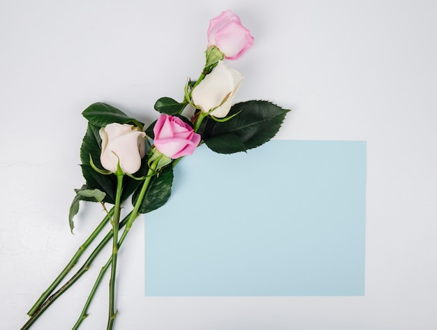 Vista superior de rosas de color rosa y blanco con hoja de papel de color azul aislada sobre fondo blanco con espacio de copia