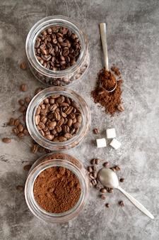 Vista superior de los sabores de café.