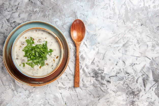 Vista superior sabrosa sopa de yogur dovga con verduras en mesa blanca plato de sopa de leche lácteos