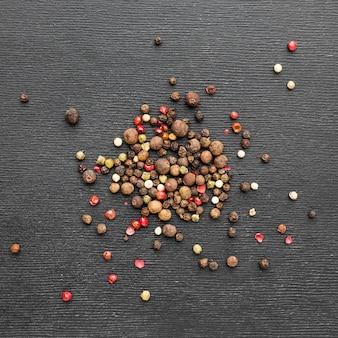 Vista superior de semillas de pimiento