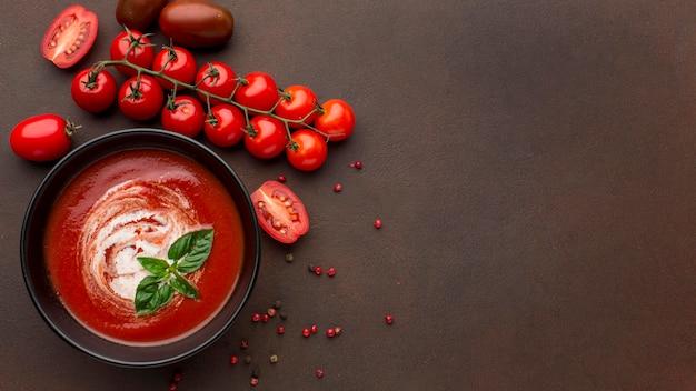 Vista superior de la sopa de tomate de invierno con espacio de copia