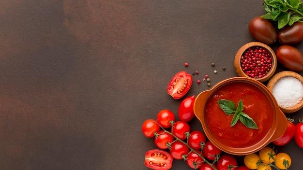 Vista superior de la sopa de tomate de invierno en un tazón con espacio de copia