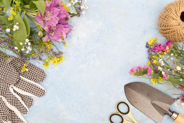 Vista superior surtido de herramientas y flores.