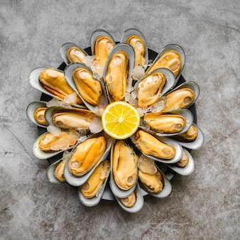 Vista superior surtido de mariscos deliciosos