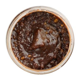 Vista superior del tarro de miel