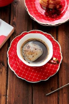 Vista superior de una taza de café