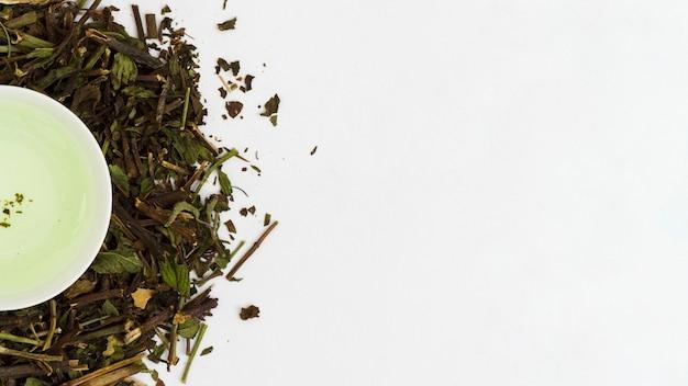 Vista superior taza de té con hojas